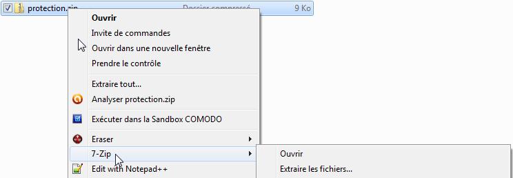 Capture menu contextuel ouvrir avec 7zip.