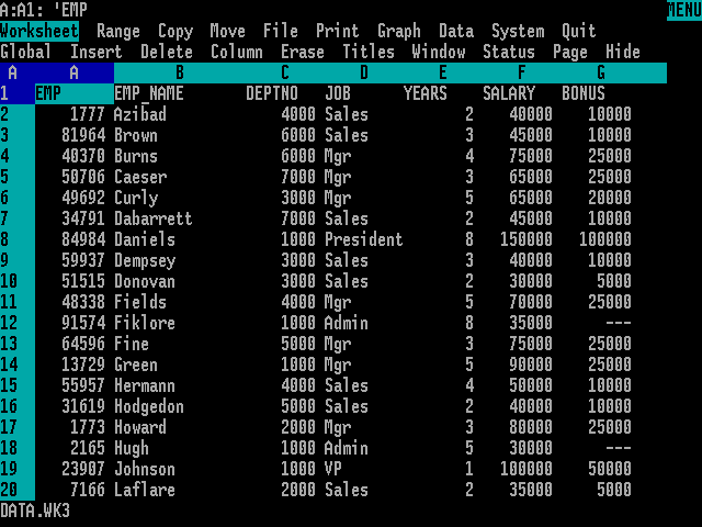Capture d'écran Lotus 1-2-3.