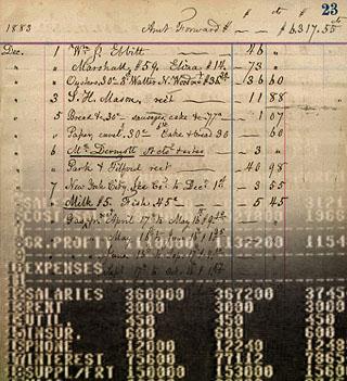 Feuille de calcul sur papier 19° siècle.