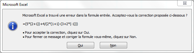 Capture écran message d'erreur excel, parenthèses.