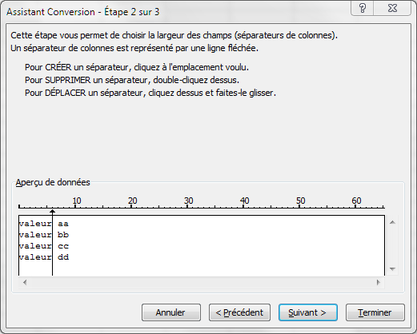 Capture assistant conversion de texte, étape 2 pour les sauts de colonnes.