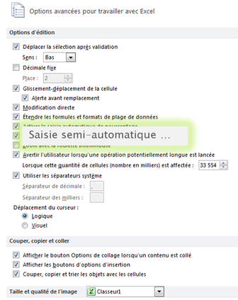 Capture option saisie semi-automatique Microsoft Excel.