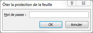 Capture Excel, Boite de dialogue de demande du mot de passe.
