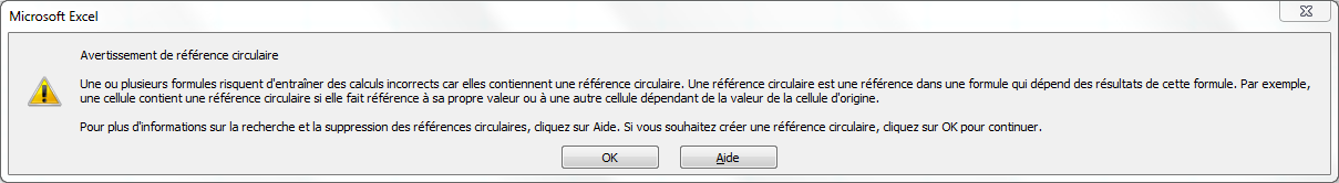 Capture écran, message erreur référence circulaire sur le tableur microsoft excel.