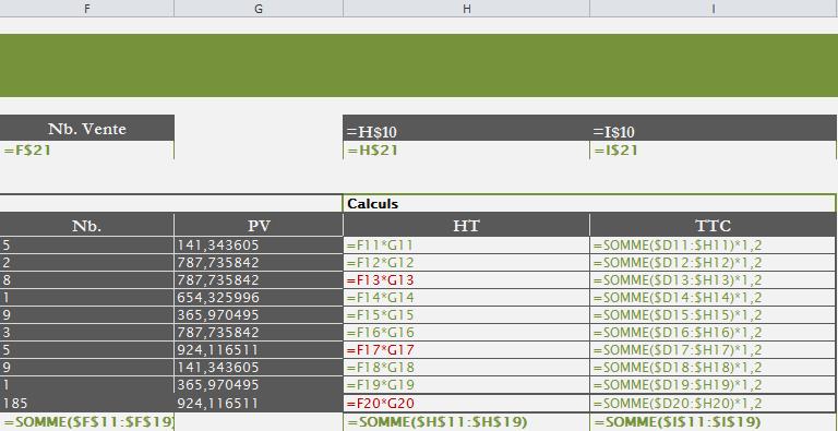 Comportement des formules avec insertion en fin du tableau Excel.