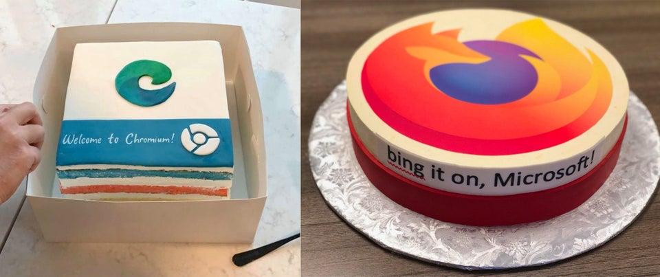 Pâtisserie offerte par Firefox et Google Chrome pour la sortie de Microsoft Edge.