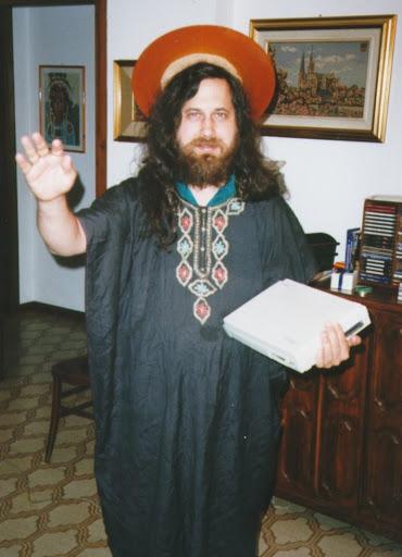 Photo du gourou du logiciel libre Richard Stallman, fondateur de Linux, du projet gnu, de la free software fundation.