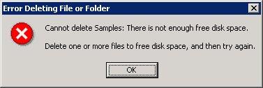 Message d'erreur espace libre.
