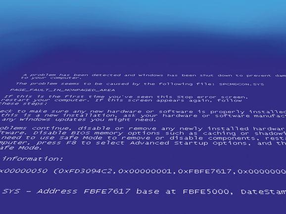Capture écran bleu de la mort Microsoft Windows.