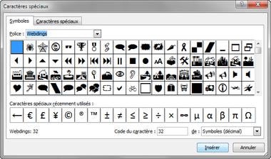 Capture fenêtre caractère spéciaux Microsoft Office sélection Webdings.