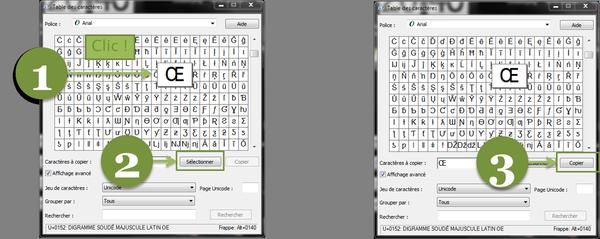 Étapes sélection caractères spéciaux fenêtre Windows.