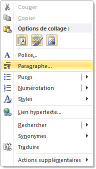 Menu contextuel de Microsoft Word.