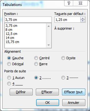 Fenêtre des tabulations de Microsoft Word.